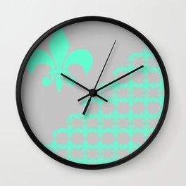 Offset Green Fleur Wall Clock