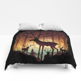 Into Deer Woods Comforters