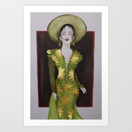 Classy woman in green dress with golden accents Art Print