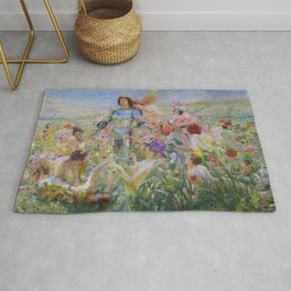 Lord and Goddesses of the Flowers floral magical realism landscape painting Georges Rochegrosse Rug