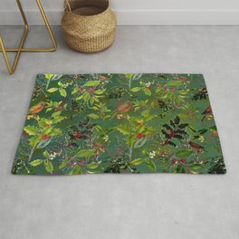 Christmas Pattern with Green Background Rug
