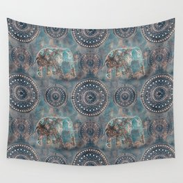 Elephant Ethnic Style Pattern Teal and Copper Wall Tapestry