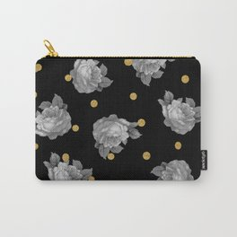 Roses and Gold Dots Carry-All Pouch