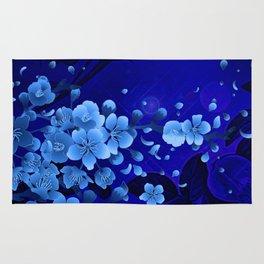 Cherry blossom, blue colors Rug