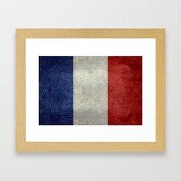 Flag of France, vintage retro style Framed Art Print