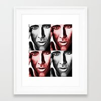 nicolas cage Framed Art Prints featuring Nicolas by ArtChickStudio