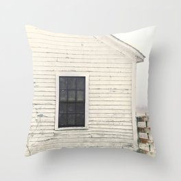 Old Window, vintage farm house Sonoma County Photography, Whitewashed - Old Fence  Throw Pillow