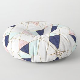 Mod Triangles - Navy Blush Mint Floor Pillow