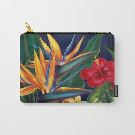 Tropical Paradise Hawaiian Floral Illustration Carry-All Pouch