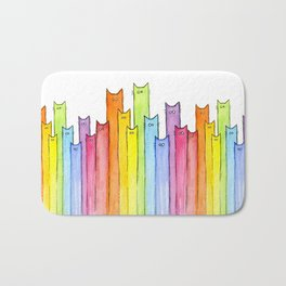 Cat Rainbow Watercolor Pattern Bath Mat