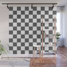 Checkered (Grey & White Pattern) Wall Mural