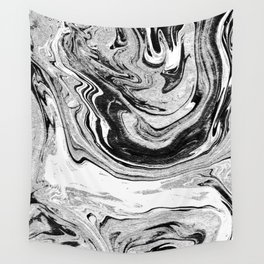 Masuki - black and white minimal spilled ink marbled paper marble texture marbling marble painting Wall Tapestry