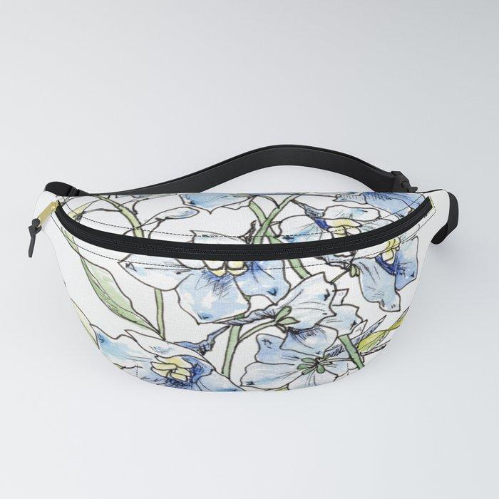 Blue Delphinium Flowers Fanny Pack