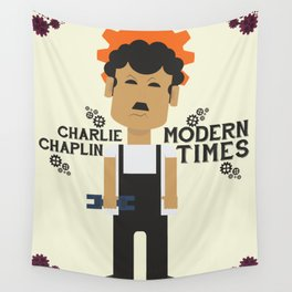 Charlie Chaplin, Modern Times, minimal movie poster Wall Tapestry