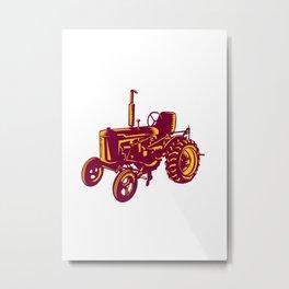 Vintage Farm Tractor Woodcut Metal Print