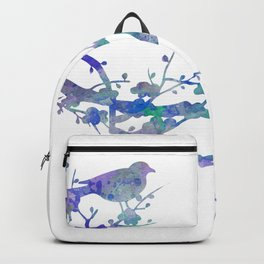 Love Birds On Floral Branch Watercolor Painting Backpack