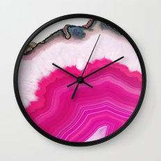 Pink Agate Slice Wall Clock