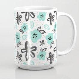 Mint and black flowers Coffee Mug