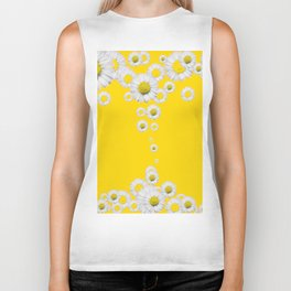 WHITE DAISIES WINDFALL YELLOW ART Biker Tank