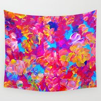 jazzberry Wall Tapestries featuring FLORAL FANTASY Bold Abstract Flowers Acrylic Textural Painting Neon Pink Turquoise Feminine Art by EbiEmporium