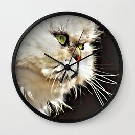 White Persian Cat Wall Clock