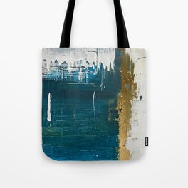 Rain [3]: a minimal, abstract mixed-media piece in blues, white, and gold by Alyssa Hamilton Art Tote Bag