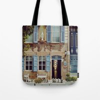 jewish Tote Bags featuring Blue Shutters in the Sun by Brown Eyed Lady