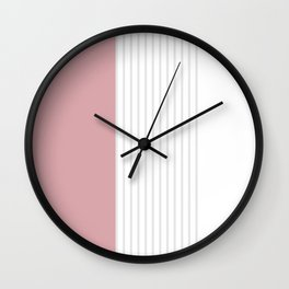 Dusty Melon and Grey Stripes Wall Clock