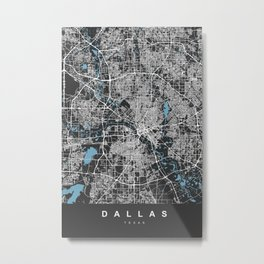 Dallas Map - Texas | Black & Blue | More Colors, Review My Collections Art Print Art Print Metal Print