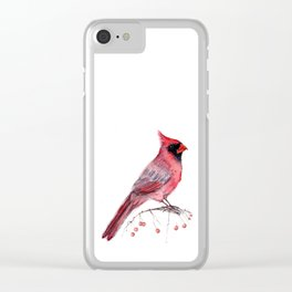 Red Cradinal Clear iPhone Case