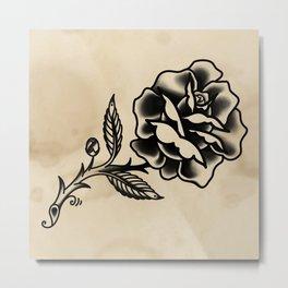 American Traditional Rose Metal Print