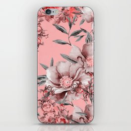Peach Red and Gray Floral iPhone Skin