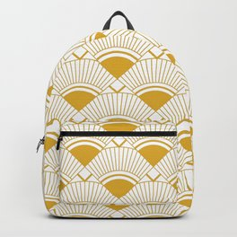 Art Deco White And Gold Elegant Hollywood Pattern Backpack