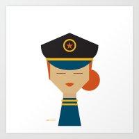 pilot Art Prints featuring Pilot by Page 84 Design