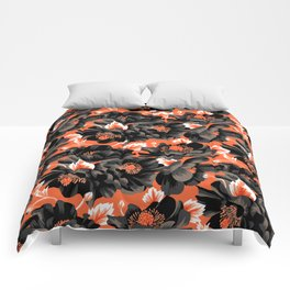 Mount Cook Lily - Orange/Black Comforters