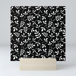 White on Black Assorted Leaf Silhouette Pattern Mini Art Print