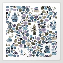 Wishing stones and cairns Art Print