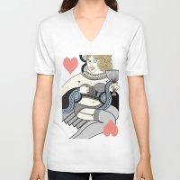 queen V-neck T-shirts featuring queen by ulas okuyucu