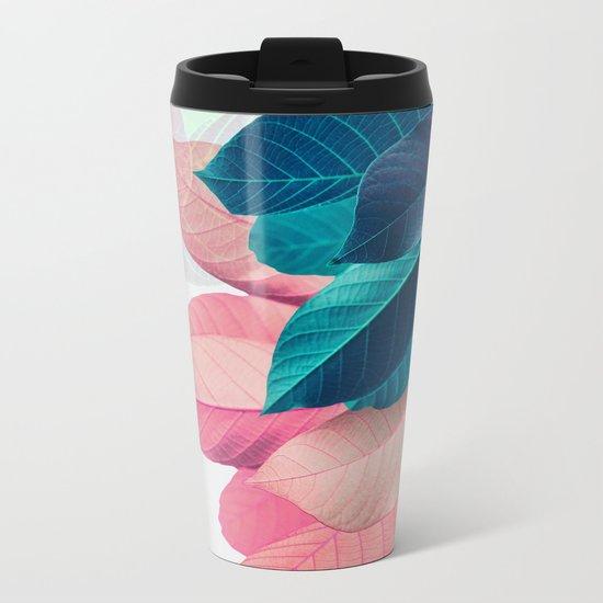 Pink and Blue Leaf Metal Travel Mug