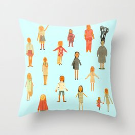 Childhood paper dolls Throw Pillow