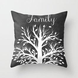 Family Tree Black and White Throw Pillow
