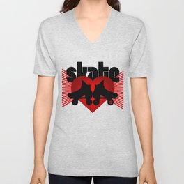 Skate Love white Unisex V-Neck