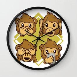 Monkey smilies Wall Clock