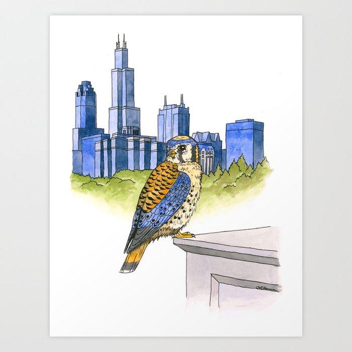 American Kestrel with Chicago skyline Art Print