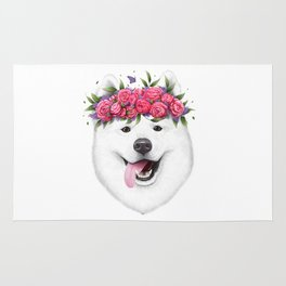 Samoyed with flowers Rug