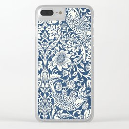 William Morris Navy Blue Botanical Pattern 4 Clear iPhone Case