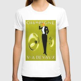 Vintage Champagne Yellow Veuve A. Devaux, Paris, Jazz Age Roaring Twenties Advertisement Poster T-shirt
