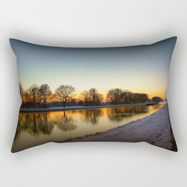 Winter sun early morning waterfront Rectangular Pillow