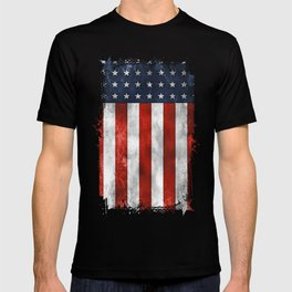 American Flag Stars and Stripes Distressed Grunge 4th. July T-shirt