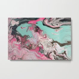 Fluid Art Acrylic Painting, Pour 1 - Pink, Black, White, Turquoise Metal Print